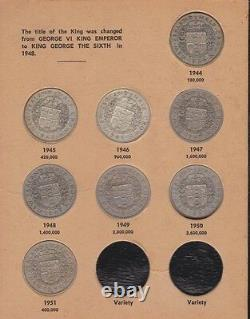 1933-1965 Half Crown Set inc Silver Coins Bertrand Album New Zealand NZ B-862