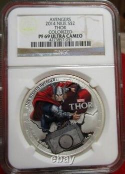 2014 Niue Thor Colorized Avengers $2 Niue 1oz. 999 Silver Marvel Comics Avengers