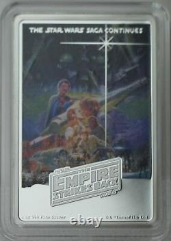 2017 $2 Star Wars Poster Collection Empire Strikes Back 1 oz Silver Colored Coin