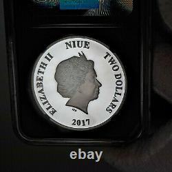 2017 Chewbacca Star Wars PF70 $2 Silver Proof, NGC Graded PR70, Niue Mint 1oz