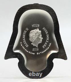 2019 Darth Vader Helmet 2 oz 999 Silver $5 Niue Coin Star Wars New Zealand JL366