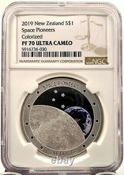 2019 New Zealand $1 Space Pioneers 1 oz. 999 Silver Proof Coin NGC PF 70 UCAM