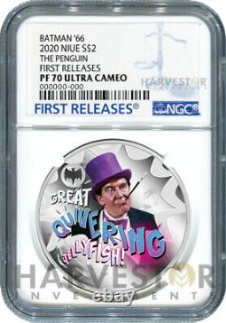 2020 BATMAN 66 SILVER COIN PENGUIN NGC PF70 FIRST RELEASES WithOGP TV SHOW