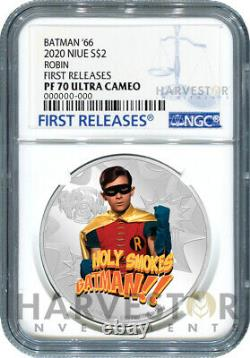 2020 BATMAN 66 SILVER COIN ROBIN BURT WARD NGC PF70 FIRST RELEASES WithOGP