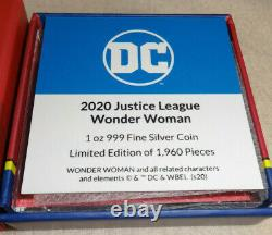 2020 Justice League 60th Anniversary WONDER WOMAN 1oz Silver Coin Low Mintage