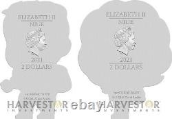 2021 Back To The Future Biff Tannen & Jennifer 1 Oz. Silver X 2 Figure Coins
