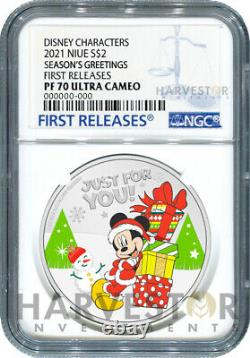 2021 Disney Seasons Greetings 1 Oz. Silver Coin Ngc Pf70 First Releases