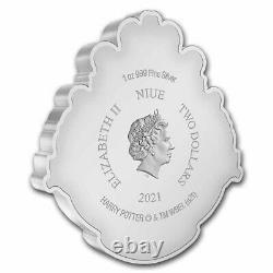 2021 Niue 1 oz Silver $2 Harry Potter Hogwarts Crest Shaped Coin SKU#234996