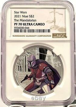 2021 Niue $2 Star Wars Mandalorian 1 oz Silver Proof Coin NGC PF 70 UCAM