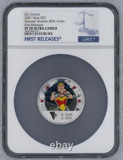 2021 Niue DC Comics Wonder Woman 80th Anniv NGC PF70 FR WithOGP