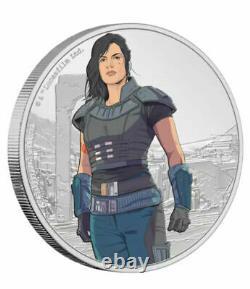2021 Niue Star Wars Mandalorian Cara Dune 1oz Silver Round Coin Colorized