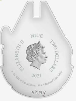 2021 Star Wars Millenium Falcon 1 oz. 999 silver shaped coin COA/OGP