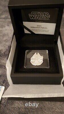 2021 Star Wars Millennium Falcon 1 oz. 999 silver shaped coin collectors box