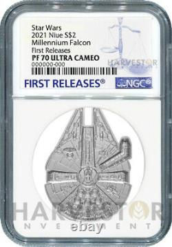 2021 Star Wars Millennium Falcon Shaped Coin Ngc Pf70 First Releases