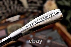 CFK Handmade VG10 Custom BEAR Scrimshaw New Zealand Red Stag Antler Sport Knife