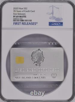 CREDIT CARD 2020 NIUE 1 1/2 oz SILVER COIN $2 NGC PF 69 MATTE FIRST RELEASE