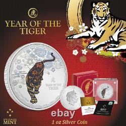 NEW! 2022 1 oz. 999 silver Proof coin Nuie Lunar year of the TIGER COA OGP- gift