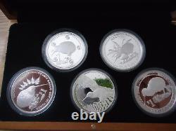 New Zealand 2004 to 2008- Kiwi Proof Coin Set 1 OZ Kiwi Coins! Scarce