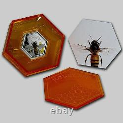 New Zealand 2016 1 OZ Silver Proof Coin- Honey Bee Coin! Scarce