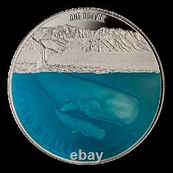 New Zealand 2018 1 OZ Silver Proof Dollar Coin Sperm Whale Coin
