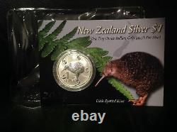 New Zealand Kiwi 2004 1 OZ Silver BU Coin- Little Spotted Kiwi! Scarce