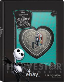 Nightmare Before Christmas Heart Shape Love Is Eternal 1 Oz. Silver Coin