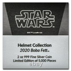 Niue 2020 2 oz Silver Proof Star Wars Boba Fett Helmet