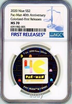 PAC-MAN 40th ANNIVERSARY 2020 NIUE 1oz SILVER COIN $2 NGC MS 70 FR COLORIZED
