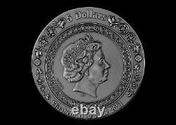 SIREN MERMAID 2021 NIUE 2oz $5 SILVER HIGH RELIEF COIN COLORIZED