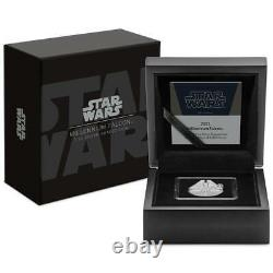STAR WARS MILLENNIUM FALCON 2021 1 oz Pure Silver Proof Special Shaped Coin NIUE