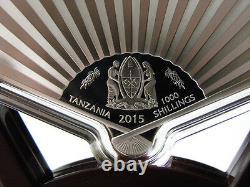 Tanzania 2015 YEAR OF THE GOAT Lunar 1 Oz Fan Shape Silver Coin 1000 Shillings