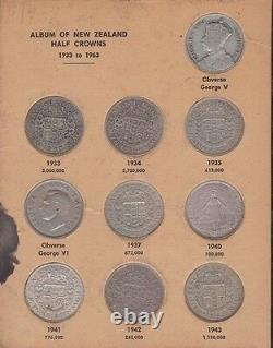 1933-1965 Half Crown Set Inc Silver Coins Bertrand Album Nouvelle-zélande Nz B-862
