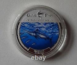 2009 Marlin Game Fish Ocean Pacifique 1 Oz. 999 Pièce D'argent Fin $ 2 Fidji En Boîte/coa