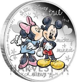 2015 Disney Fou Amoureux Mickey & Minnie 1 Oz. Pièce D'argent Première En Série