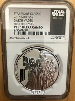 2016 Niue Star Wars 1-oz Silver Darth Vader Ngc Pf70uc Premières Versions