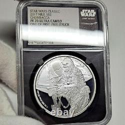 2017 Chewbacca Star Wars Pf70 2 $ Silver Proof, Ngc Graded Pr70, Niue Mint 1oz