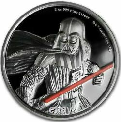 2017 Niue 2 Oz Silver Star Wars Darth Vader Ultra High Relief Avec Box Et Coa