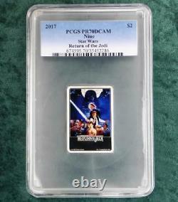 2017 Pcgs Pr70 D-cam Star Wars Retour Du Jedi 1oz. 999 Fine Silver $2 Niue