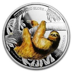 2018 1 Oz Pièce De Preuve D'argent De La Faune Trois Toed Sloth Coin