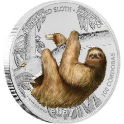 2018 Nicaragua $100 Trois Toed Sloth Nouvelle-zélande Monnaie
