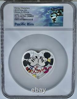 2019 Niue Disney Personnages Mickey & Minnie Love $2 1 Oz Argent Ngc Pf70ucam