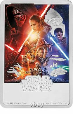 2019 Star Wars The Force Awakens Poster Coin 1 Oz. Élèvement