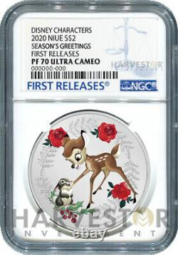 2020 Disney Seasons Greetings 1 Oz. Silver Coin Ngc Pf70 First Releases