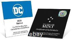 2020 Niue $5 DC Comics Batman Cowl Masque 2 Oz. 999 Pièce D'argent 5,000 Fabriquée