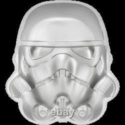 2020 Niue $5 Star Wars Casque Stormtrooper 2 Oz. 999 Pièce D'argent 5,000 Fabriquée