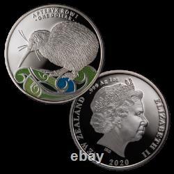 2020 Nouvelle-zélande $1 Kiwi Colorized Proof 1 Oz. 999 Pièces D'argent 2 500 Fabriqués