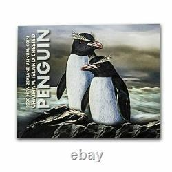 2020 Nouvelle-zélande 5 $ Chatham Penguin Colorisé 2 Oz. 999 Pièce D'argent 750 Fabriquée