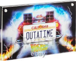 2020 Retour Vers La Future Plaque De Licence Outatime 2 Oz. Pièce D'argent Avec Ogp