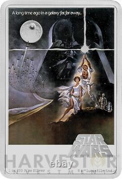 2020 Star Wars A New Hope Poster Coin 1 Oz Argent Pièce Mintage 1 977