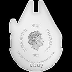 2021 $2 Niue Millenium Falcon 1 Oz En Forme D'argent Pièce De Preuve